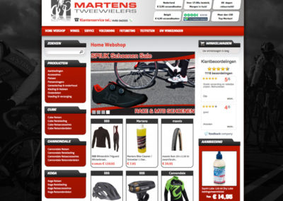 Homepage webshop oude site